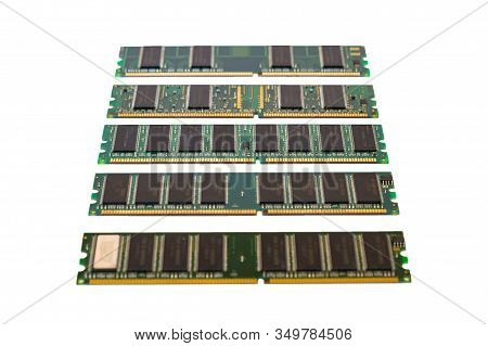 Computer Memory Module Ddr Sdram Isolated On White Background. Desktop Workstation Server Ram Memory