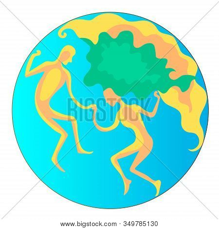 People Like The Continents. Earth, Man And Woman. Vector Color Illustration.