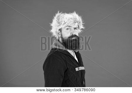 Hipster Rustic Style Furry Hat. Fashion Menswear Shop. Masculine Clothes Concept. Winter Menswear. C