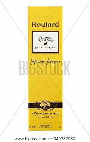 Ukraine, Kiev - December 25. 2019: Bottle Of Boulard Calvados, Grand Solage In Cardboard Box Isolate