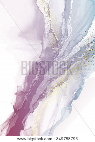 Marble Holographic Colorful Liquid Shape Background. Dynamic Watercolor Violet Pastel Composition Wi