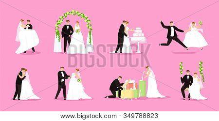 Newlywed, Just Married Couple, Bride And Groom Vector Illustration Wedding, Marriage Set. Happy Newl