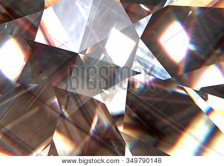 Realistic Wonderful Rainbow Diamond Texture Closeup, 3d Illustration.