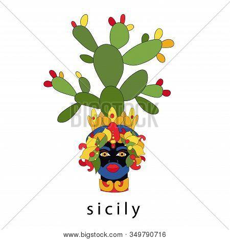 Traditional Sicilian Vase With Moor Head And Cacti. Moorish Idol. Italy, Sicily. Vector Illustration