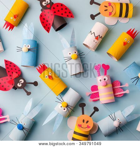 Happy Easter Kindergarten Decoration Concept - Rabbit, Chicken, Egg, Bee From Toilet Paper Roll Tube