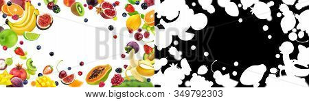 Frame Of Fruits And Berries With Alpha Channel