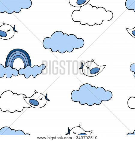 Vector Illustration. Seamless Pattern With Simple Silhouettes Of Clouds, Birds, And Rainbows In Blue