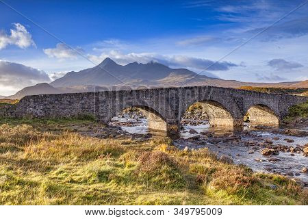 The Old Bridge At Sligachan And The Cuillins, Isle Of Skye, Inner Hebrides, Highland, Scotland, Uk