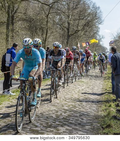 Wallers,france - April 12,2015: The Italian Cyclist Mateo Trentin Of Etixx-quick-step Team Ridin In
