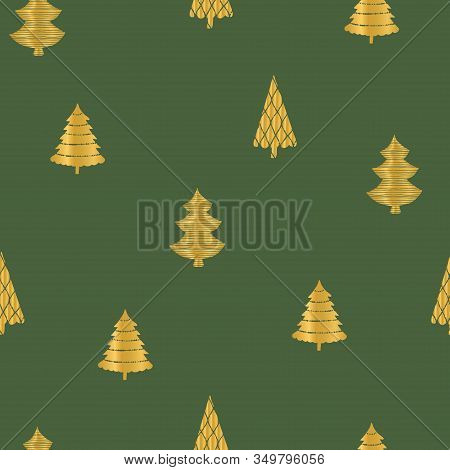 Gold Christmas Trees On Dark Green Background. Seamless Repeat Pattern. Perfect For Wrapping Paper D