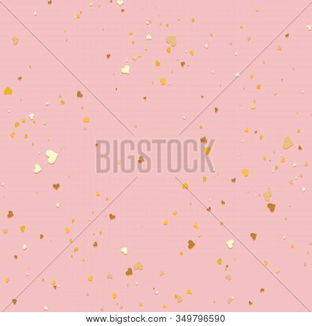 Gold Little Confetti Hearts Seamless Background. Valentines Day Pattern Pink And Golden. Romantic Ti