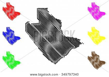 Central District (districts Of Botswana, Republic Of Botswana) Map Vector Illustration, Scribble Ske
