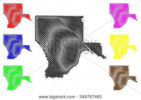 Kgalagadi District (districts Of Botswana, Republic Of Botswana) Map Vector Illustration, Scribble S