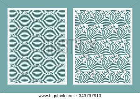 Set Of Laser Cut Template Pattern. Rivers Waves Asian Style Scenery. Metal Cutting Or Wood Carving,