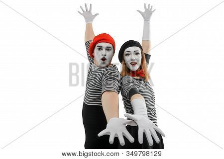 Mimes Standing Back To Back. Waist Up Portrait Of Male And Female Mime Artists