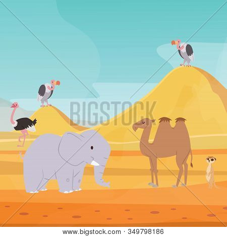 Africa Desert Landscape Background With Cartoon Flat African Animals And Birds Vector Illustration F