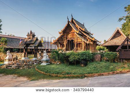 Wat Khuang Kom thai lanna wooden buddhist temple in Lampang, Northern Thailand.