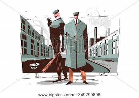 Gentlemen In Elegant Suits Vector Illustration. Man