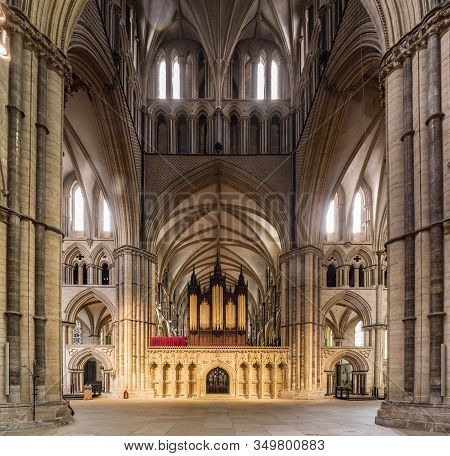 3 July 2019: Lincoln, Lincolnshire, Uk - The Choir Screen And Organ Of Lincoln Cathedral, Seen From