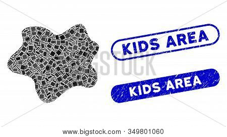 Mosaic Dirt Spot Icon And Red Round Rubber Stamp Seal With Kids Area Phrase And Coronavirus Symbol.