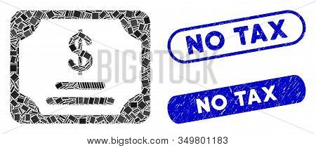 Mosaic Financial Bond Icon And Red Round Grunge Stamp Seal With No Tax Phrase And Coronavirus Symbol