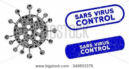 Mosaic Sars Virus Icon And Red Round Grunge Stamp Seal With Sars Virus Control Caption And Coronavir
