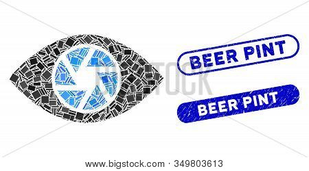 Mosaic Shutter Eye Icon And Red Round Corroded Stamp Seal With Beer Pint Text And Coronavirus Symbol