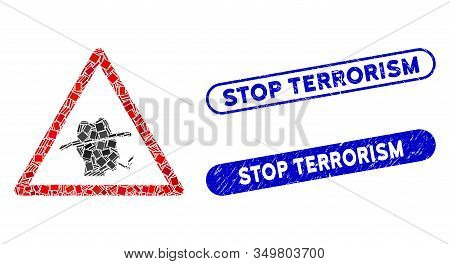 Mosaic Smoker Warning Icon And Red Round Corroded Stamp Seal With Stop Terrorism Caption And Coronav
