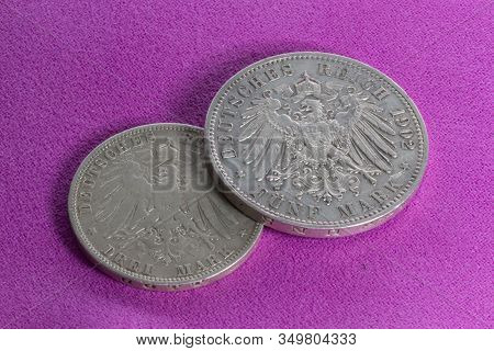 Two Silver Coins Of The 20th Century, The German Empire, Prussia And Saxony, 3 Marks Of 1908 And 5 M