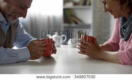 Aged Male And Female Having Pleasant Talk, Having First Date, School Sweethearts
