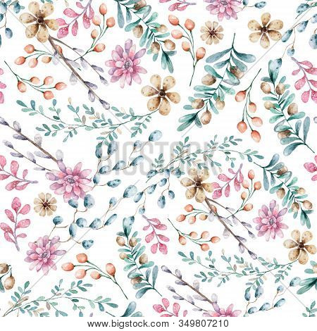 Seamless Floral Pattern, Spring Background. Hand Drawn Watercolor Illustratio Pattern Design With Fl