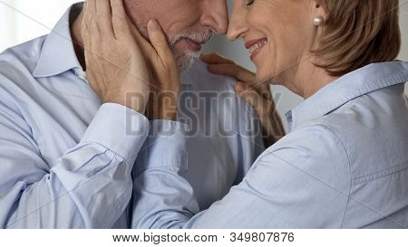 Female Retiree Cupping Male Cheek, Man Kissing Her Hand, Harmonious Family Life