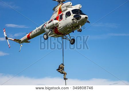 Arlamow, Poland - May, 2019: Landing Of Polish Border Guard Paratroopers From The Helicopter In Assa