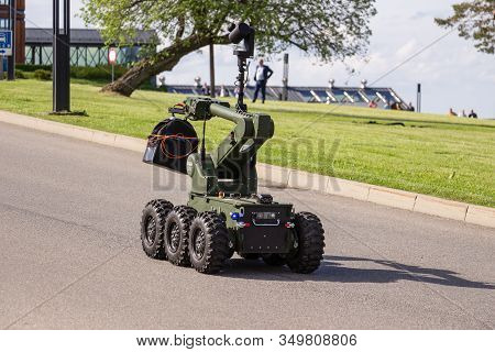 Arlamow, Poland - May, 2019: A Special Six-wheeled Robot Ibis, Used For Pyrotechnic Operations, Remo