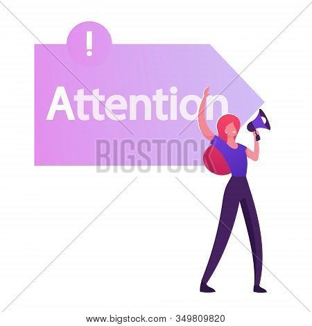 Woman Promoter Yelling To Megaphone Front Of Arrow Sign With Attention Typography. One Of Step Aida
