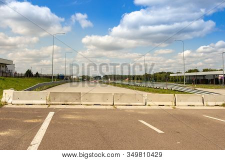 Krakovets, Ukraine - August, 2019: Concrete  Blocks At The End Of The Freeway At The Largest Polish
