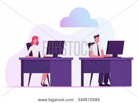Businessman And Businesswoman Sitting At Desks Working On Computers Using Cloud System And Intranet