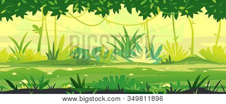 Path Through The Jungle With Green Plants Nature Landscape Tillable Horizontally, Wild Jungle Forest
