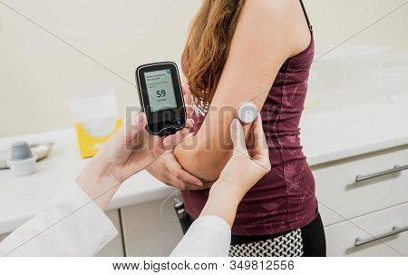 Medical Device For Glucose Check. Continuous Glucose Monitoring Pod.