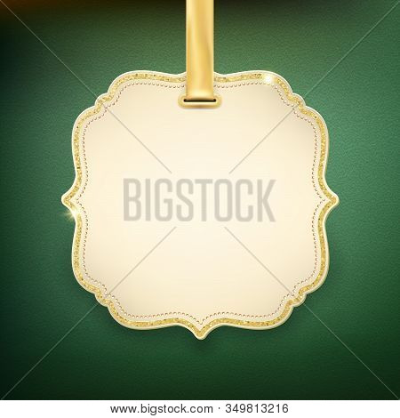 Elegant Beige Label With Golden Ribbon On Green Background. Eps 10