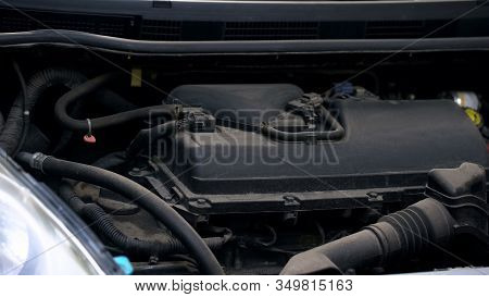 Open Hood Of Auto, Vehicle Engine And Horsepower, Automobile Diagnostics Closeup