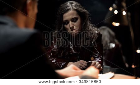Detective Interrogating Crying Lady, Trying To Get Signed Confession, Punishment