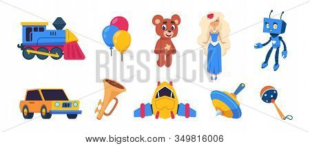Cartoon Toys. Cute Baby Dolls, Colored Balloons, Spaceship Car Train Transport Toys Isolated On Whit