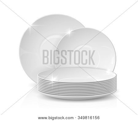 Realistic Dishes. Stack Of Plates And Bowls, 3d White Ceramic Crockery, Dishware Mockup Isolated On