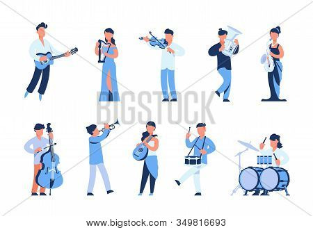 Cartoon Musicians. Men And Women Playing Musical Instruments, Street Musicians And Orchestra Members