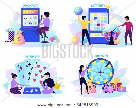 Flat Lottery. Cartoon Bingo Game Scenes With Happy Characters, Lotto Spinner, Fortune Wheel And Gamb