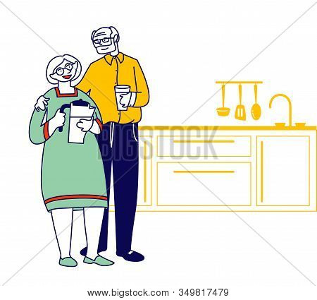 Happy Loving Senior Couple Stand On Kitchen Man Holding Glass And Woman With Potter For Filtering Wa