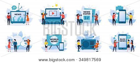 News And Journalism. News Reporters, Talk Show Hosts Cartoon Characters, Scenes For Online Newspaper