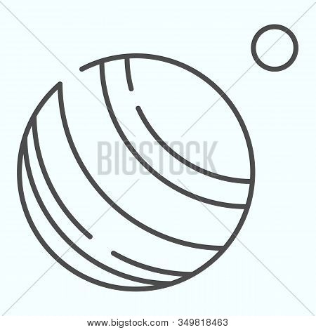 Jupiter Thin Line Icon. Planet With Satellite. World Space Week Design Concept, Outline Style Pictog