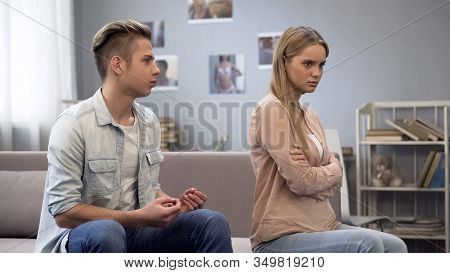 Guy Making Excuses To Girlfriend Who Suspects Him Of Betrayal, Trust In Relation